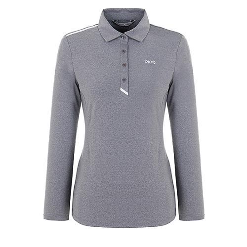 [핑]여성 플래킷 배색 기모 티셔츠 12283TO952_GY