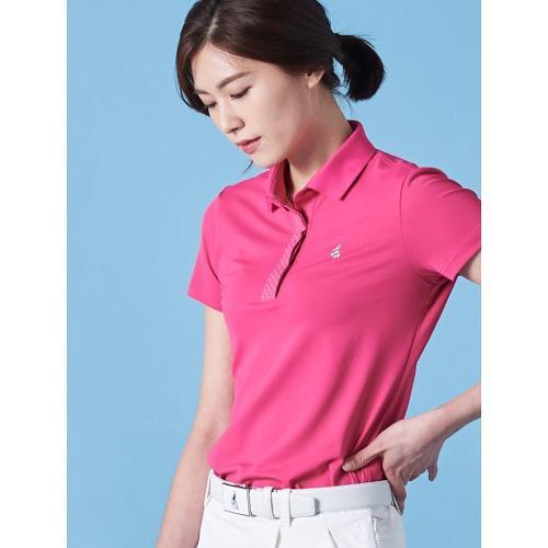 [빈폴골프] 여성 핑크 실버 도트 포인트 칼라 티셔츠 (BJ9342A35X)