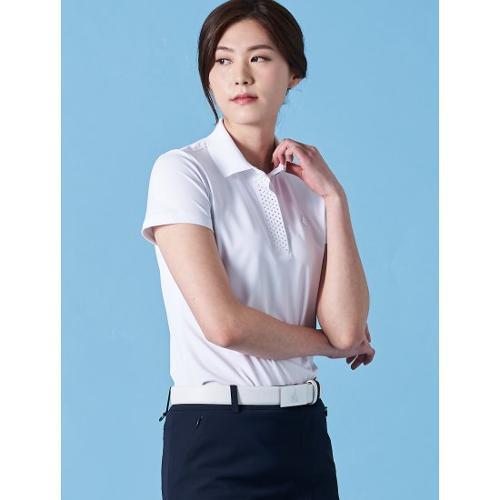 [빈폴골프] 여성 화이트 실버 도트 포인트 칼라 티셔츠 (BJ9342A351)