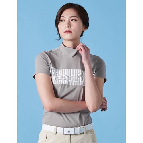 [빈폴골프] 여성 베이지 스트라이프 타이포 하이넥 티셔츠 (BJ9342A36A)