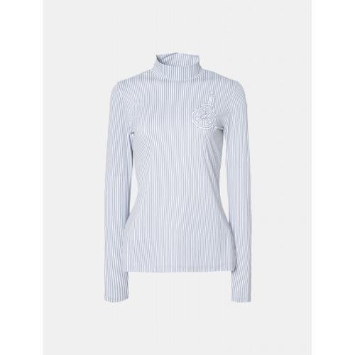 [빈폴골프] 여성 라이트 그레이 스트라이프 냉감 티셔츠 (BJ9341A322)