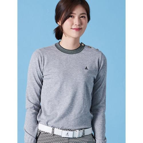 [빈폴골프] 여성 그레이 헤링본 포인트 라운드넥 스웨터 (BJ9151A083)