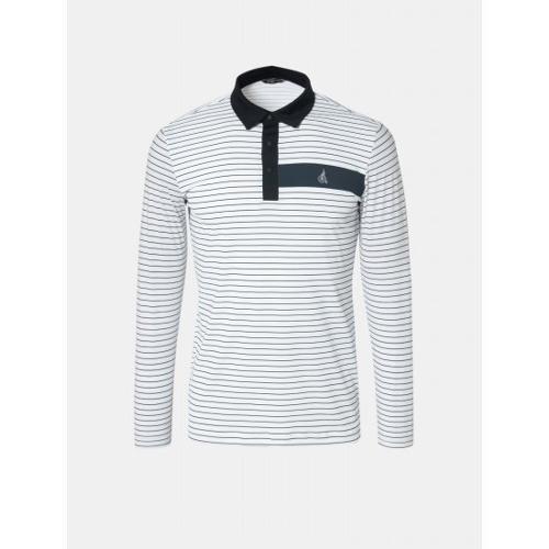 [빈폴골프] 남성 화이트 핀 스트라이프 냉감 칼라 티셔츠 (BJ9441B231)