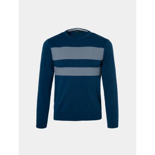 [빈폴골프] 남성 블루 지그재그 라운드 스웨터 (BJ9151B02P)