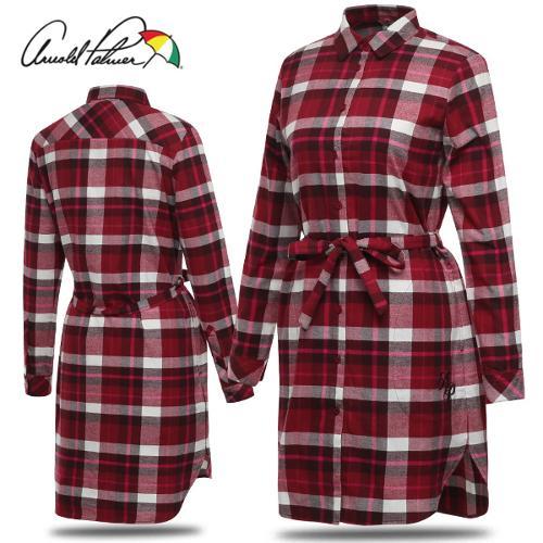 [아놀드파마] 순면 체크 허리끈 여성 카라넥 롱 긴팔 셔츠/골프웨어_ALW8WS53