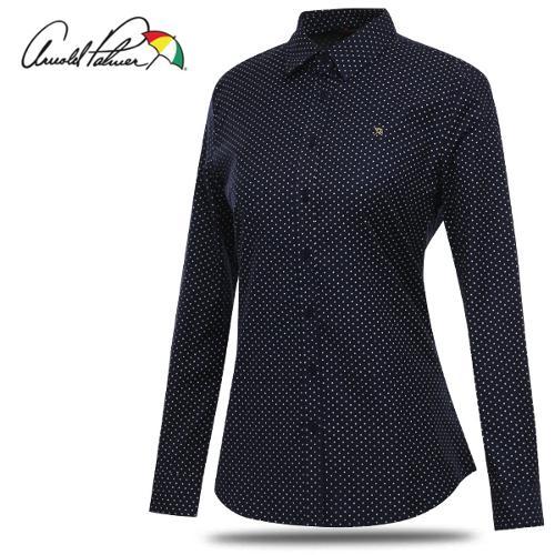 [아놀드파마] 면스판 배색 도트 여성 카라넥 긴팔 셔츠/남방/골프웨어_ALW8WS52