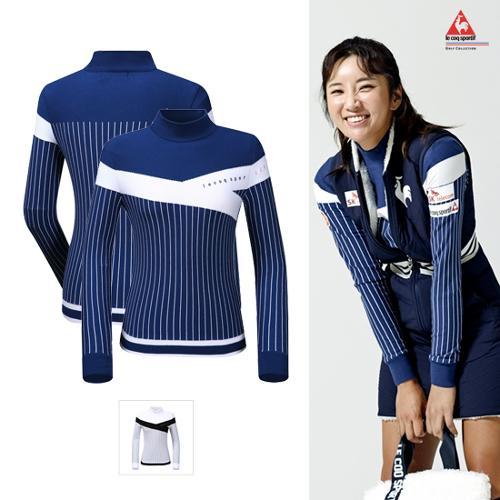 [르꼬끄골프] [판매 BEST]여성 면블럭 세로 스트라이프 홑겹 스웨터 (G9422LKPO4)