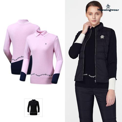 [먼싱웨어] [19FW 신상]여성 방풍안감 소매배색 스웨터 (M9422LSWO5)