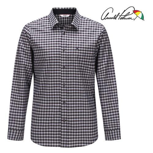 [아놀드파마] 순면 배색 잔체크 남성 카라넥 긴팔 셔츠/골프웨어_AMF9WS51
