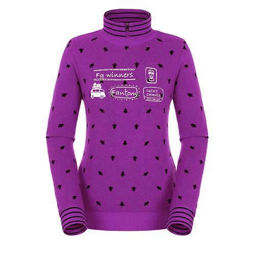 [팬텀]여성 올오버 패턴 하이넥 방풍 스웨터 22184SN166_VO