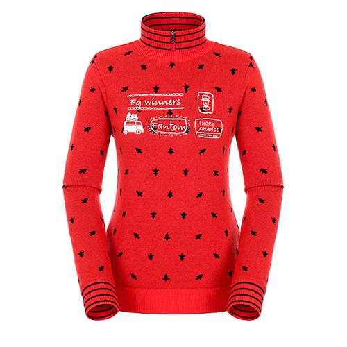 [팬텀]여성 올오버 패턴 하이넥 방풍 스웨터 22184SN166_OR
