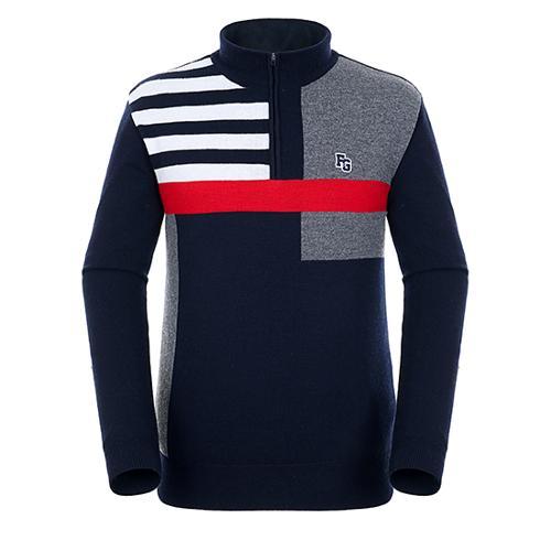 [팬텀]남성 패턴 배색 방풍 울 스웨터 21184SN115_NA