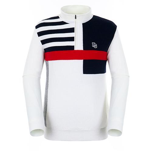 [팬텀]남성 패턴 배색 방풍 울 스웨터 21184SN115_WH
