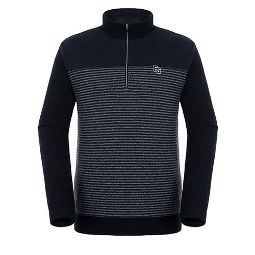 [팬텀]남성 스트라이프 반집업 방풍 스웨터 21184SN116_BK