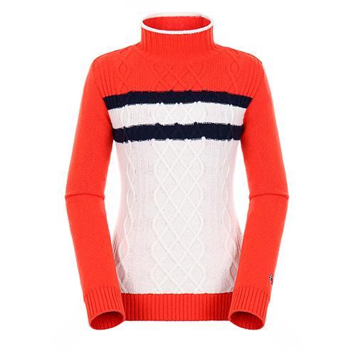 [팬텀]여성 컬러블럭 케이블 방풍 스웨터 22184SN164_OR