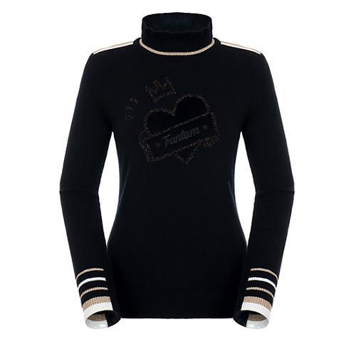 [팬텀]여성 글리터 배색 울 캐시미어 스웨터 22184SN162_BK