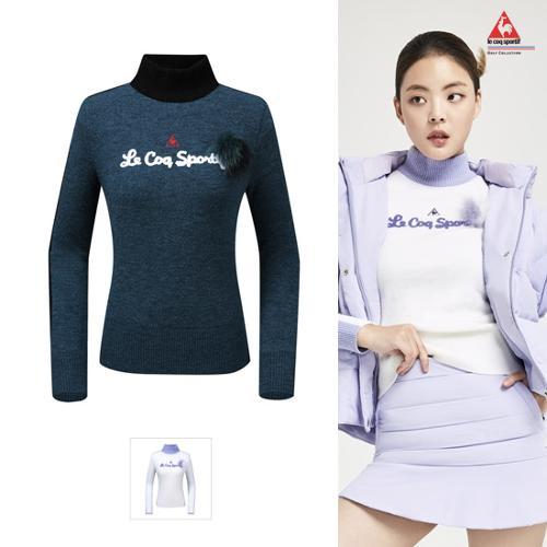 [르꼬끄골프] [19FW 신상]여성 방풍 레터링 퍼 포인트 스웨터 (G9422LKPN6)