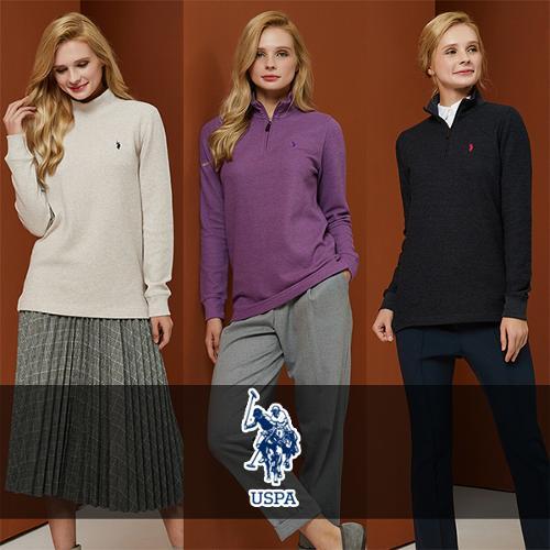 [USPA] 면혼방 베이직 로고자수 여성 긴팔티셔츠 3종 택1/골프웨어_247865