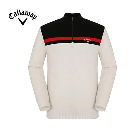 [캘러웨이]남성 심플 배색 반집업 스웨터 CMSHF4251-101
