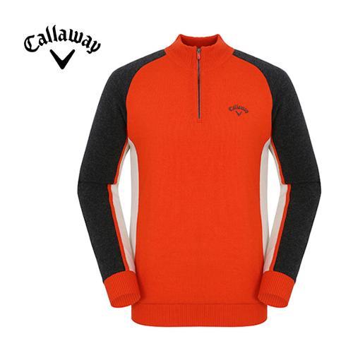[캘러웨이]남성 배색 반집업 스웨터 CMSHF4202-301