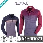 [NEW ACE] 뉴에이스 잔줄 패턴 면 기모 카라티셔츠Model No_N1-9Q071