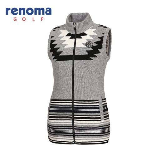 [레노마골프]여성 자가드 패턴 니트 집업 베스트 RWSVF8206-193