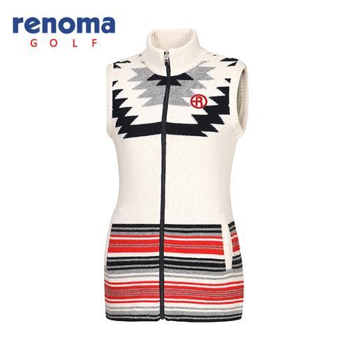 [레노마골프]여성 자가드 패턴 니트 집업 베스트 RWSVF8206-101