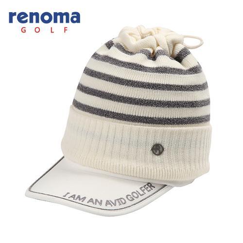 [레노마골프]여성 배색 스트라이프 넥워머 세트 자수 썬캡 모자 RWACF8803-101