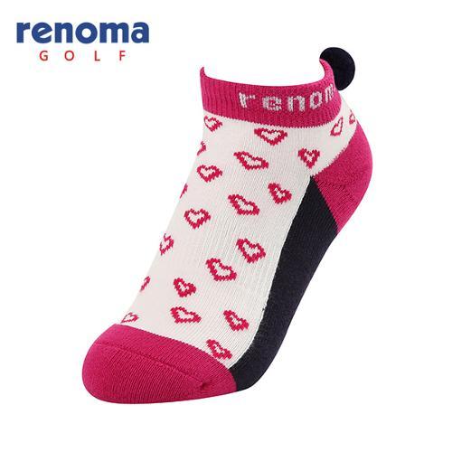 [레노마골프]여성 방울 장식 하트 패턴 배색 단목 양말 RWASF7841-403