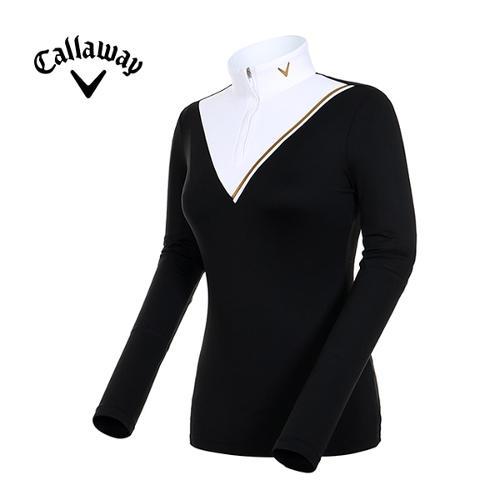 [캘러웨이]19F/W 여성 쉐브론 컬러블럭 반집업 티셔츠_CWTHH7155-199_Y
