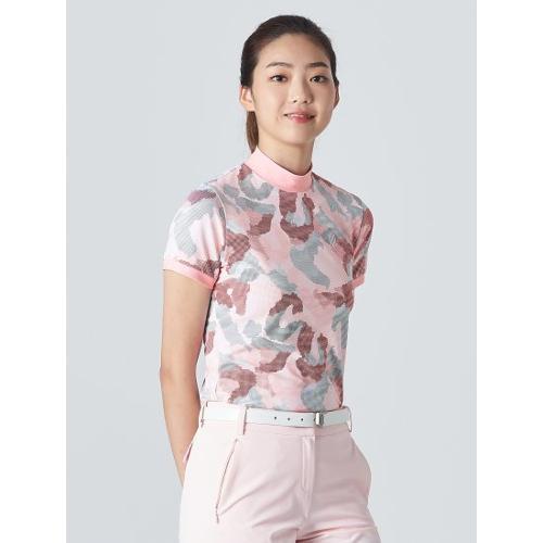 [빈폴골프] [NDL라인] 여성 라이트 핑크 카모 하이넥 티셔츠 (BJ0Z42OL2Y)
