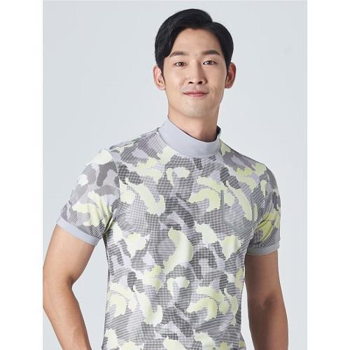 [빈폴골프] [NDL라인] 남성 라이트 그레이 카모 하이넥 티셔츠 (BJ0Z42OM22)