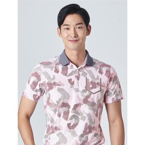 [빈폴골프] [NDL라인] 남성 라이트 핑크 카모 칼라 티셔츠 (BJ0Z42OM1Y)