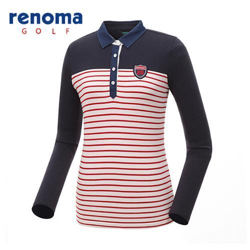[레노마골프]여성 스트라이프 배색 카라 티셔츠 RATS65611-NY