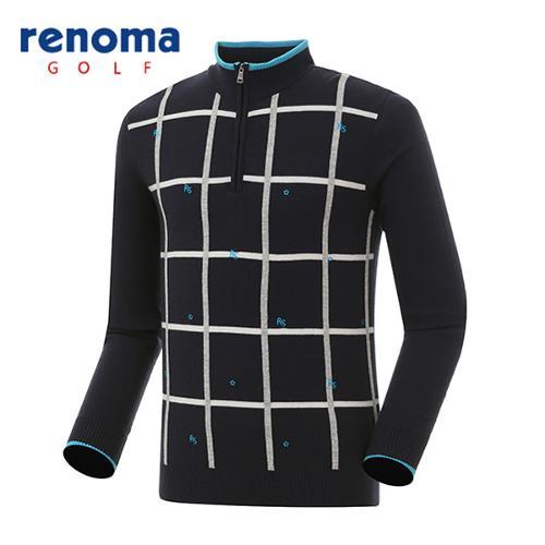 [레노마골프]남성 격자 패턴 자수 반집업 스웨터 RAKP01611-NY