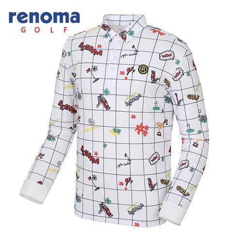 [레노마골프]남성 캐주얼 패턴 카라 티셔츠 RMTYG1107-100