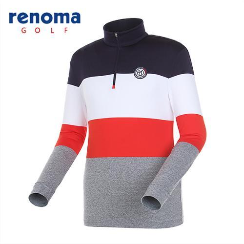 [레노마골프]남성 블록 반집업 패턴 티셔츠 RMTHG1109-120