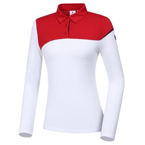[와이드앵글] 여성 블럭형 카라 티셔츠 L WWP20201W2