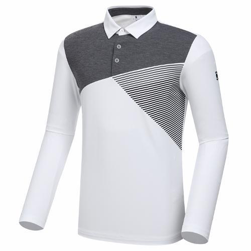 [와이드앵글] 남성 변형 면블럭 카라 티셔츠 M WMP20201W2