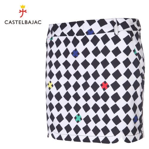 [까스텔바작] 폴리 다이아몬드 패턴 볼주머니 여성 골프 큐롯/골프웨어_BG9SCU802