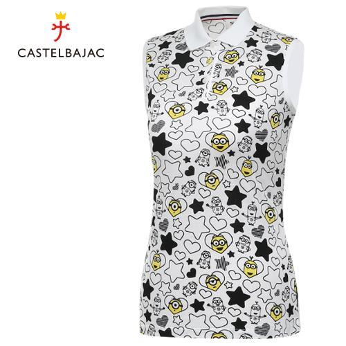 [까스텔바작] 순면 큐티 패턴 여성 카라넥 민소매티셔츠/골프웨어_BG8MTN708