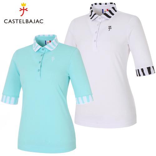 [까스텔바작] 폴리스판 지브라 패턴 여성 카라넥 5부 티셔츠/골프웨어_BG9STS507