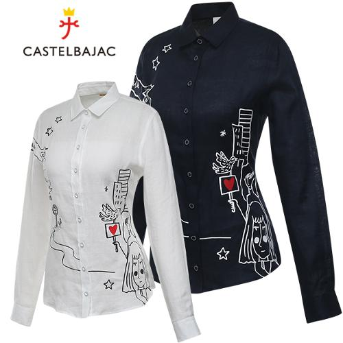[까스텔바작] 린넨 아트웍 프린트 카라넥 여성 긴팔 셔츠/골프웨어_BG8MSH701