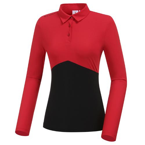 [와이드앵글] 여성 W엔젤 긴소매 카라 티셔츠(W.ICE) L WWM20214R2