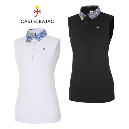 [까스텔바작] 폴리스판 카카오 프릴 민소매 여성 골프 티셔츠/골프웨어_BG9MTN704