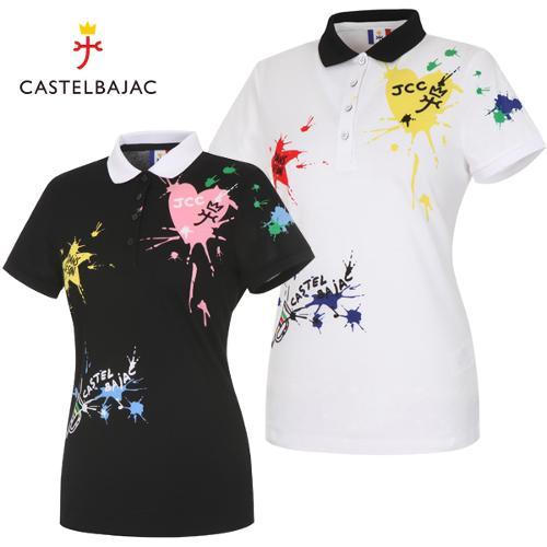 [까스텔바작] 순면 컬러 페인팅 여성 카라넥 반팔티셔츠/골프웨어_BG9MTS701