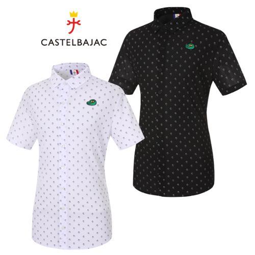 [까스텔바작] 폴리 미니 카카오 패턴 남성 카라넥 반팔 셔츠/골프웨어_BG9MTS233