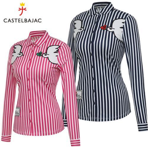 [까스텔바작] 세로 스트라이프 비둘기 아트웍 여성 풀오픈 긴팔 셔츠/골프웨어_BG8STS503