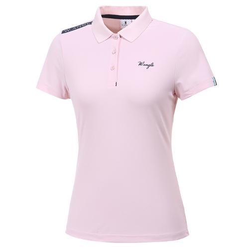 [와이드앵글] 여성 레이블럭 PQ 솔리드 반팔 티셔츠 L WWM20291P1