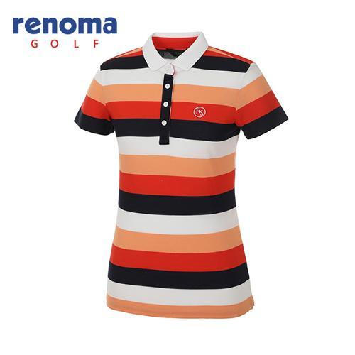 [레노마골프]여성 스트라이프 배색 반팔 티셔츠 RATS73631-DO